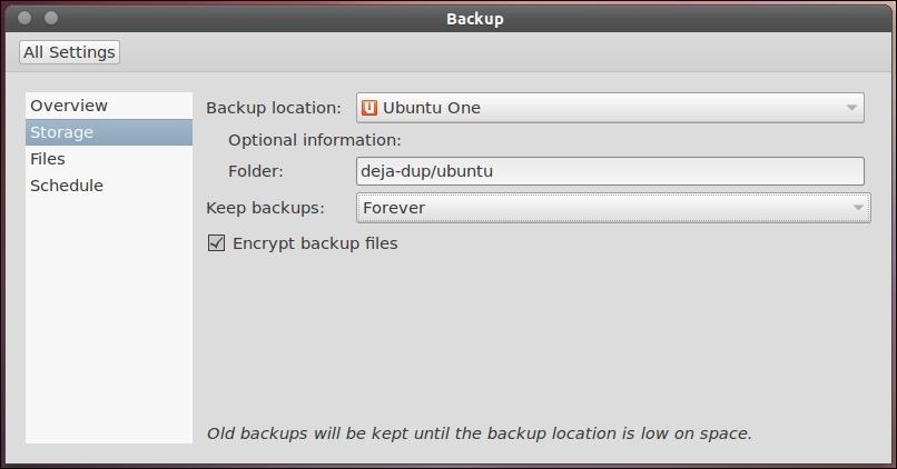 Deja Dup в Ubuntu 11.10