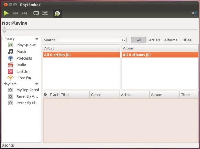 Rhythmbox вновь стандартный аудиоплеер