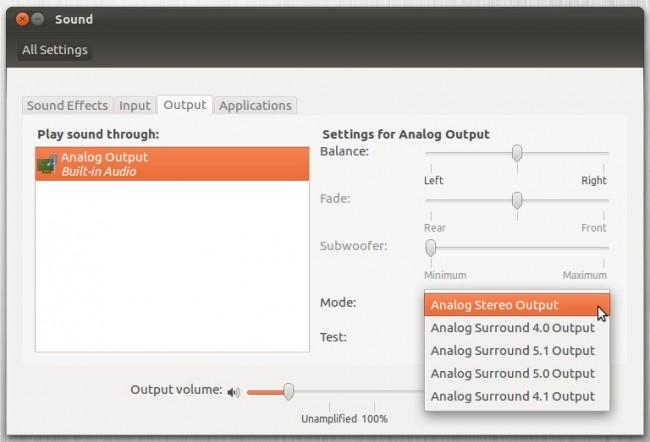 Параметры звука в Ubuntu 12.04