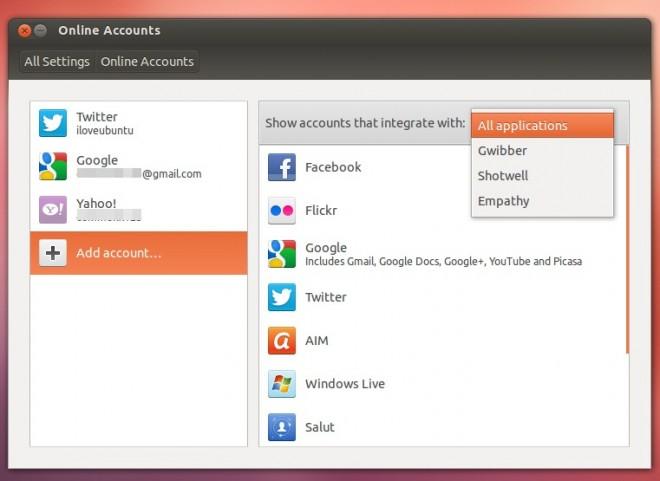 Приложение Online Accounts добавлено в Ubuntu 12.10