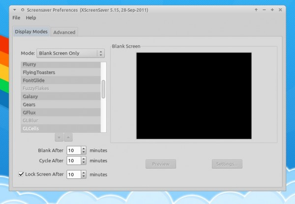 Настройка блокировки экрана в Xubuntu