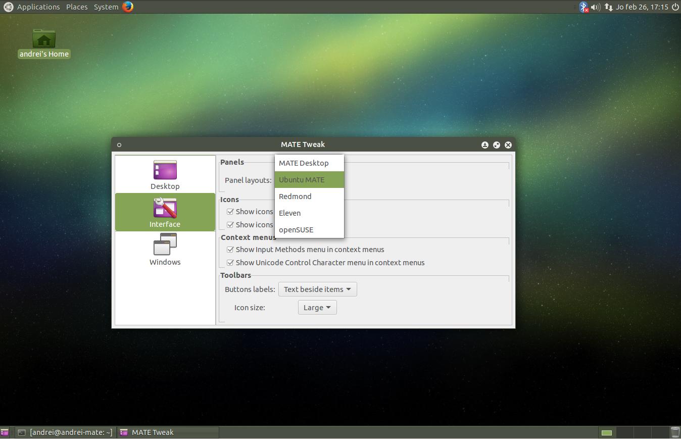 Mate Tweak Tool для Ubuntu Mate