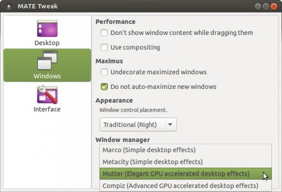 MATE Tweak Tool of Ubuntu MATE