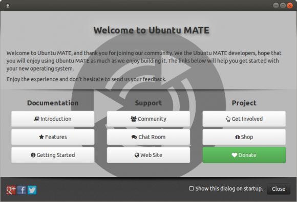 Ubuntu MATE wellcome