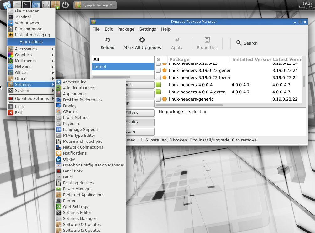 Новая версия Exton|OS Light вышла с ядром Linux 4.0 и Openbox